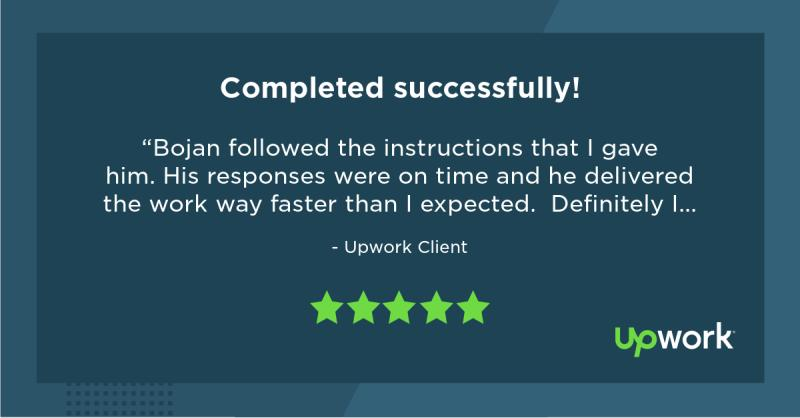 Upwork 5 Star Review 5