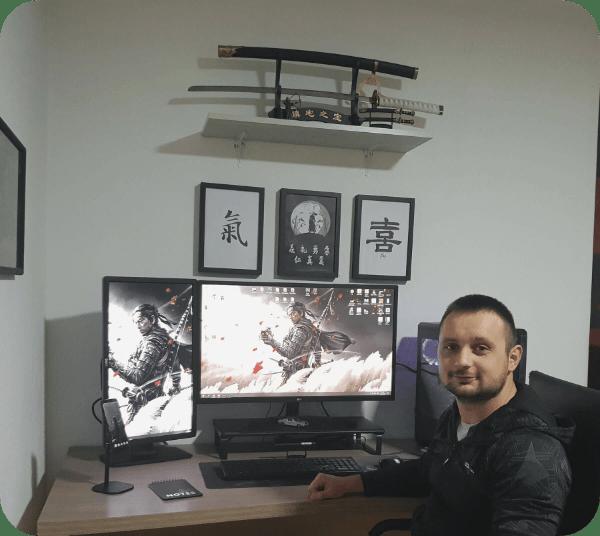 Bojan Mitevski at his Desk