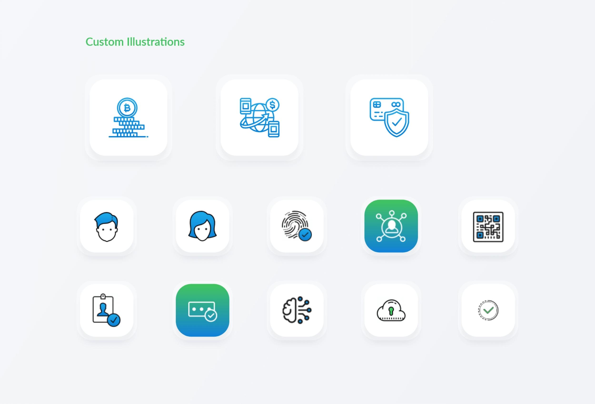 Custom icons used