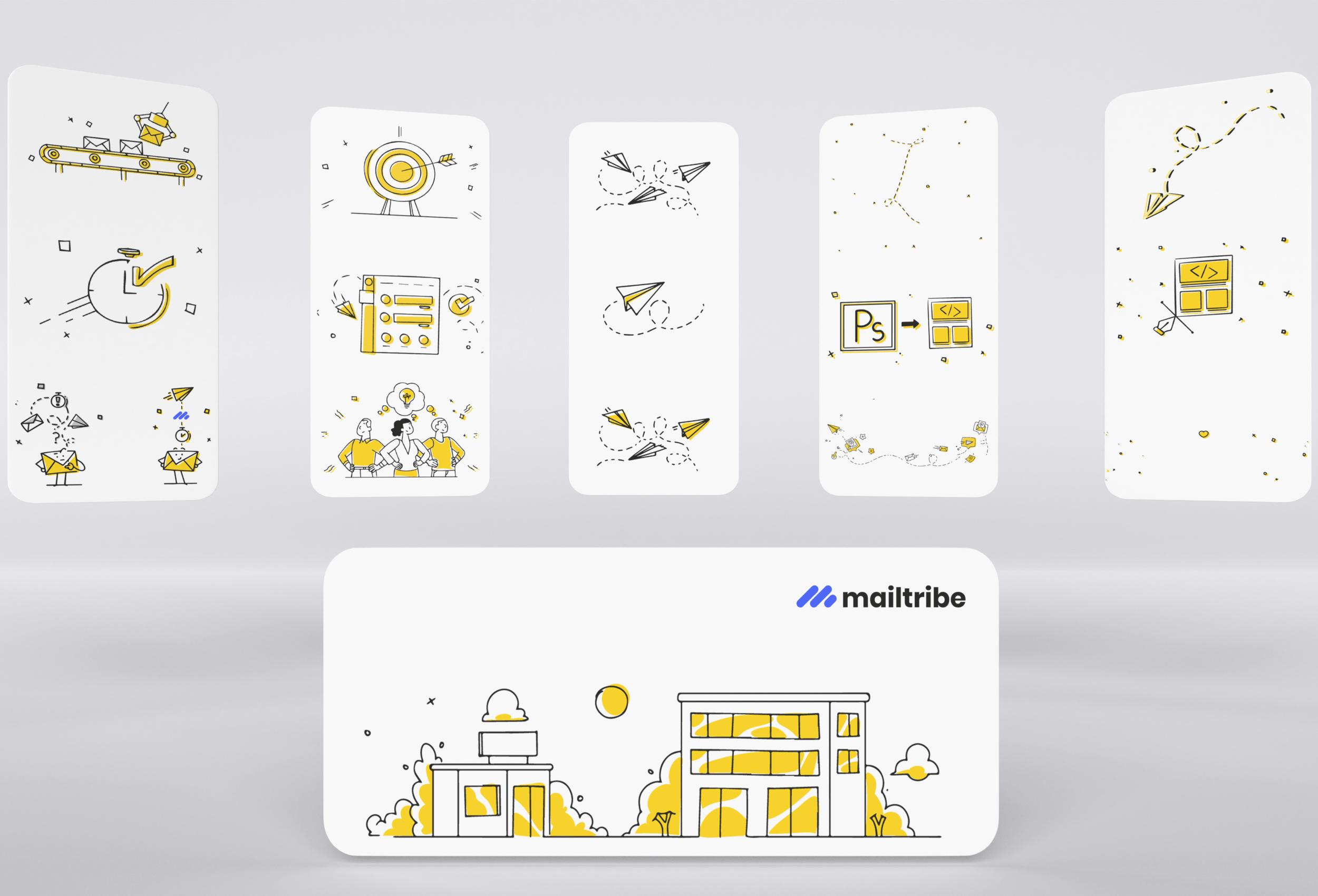 Custom illustrations used