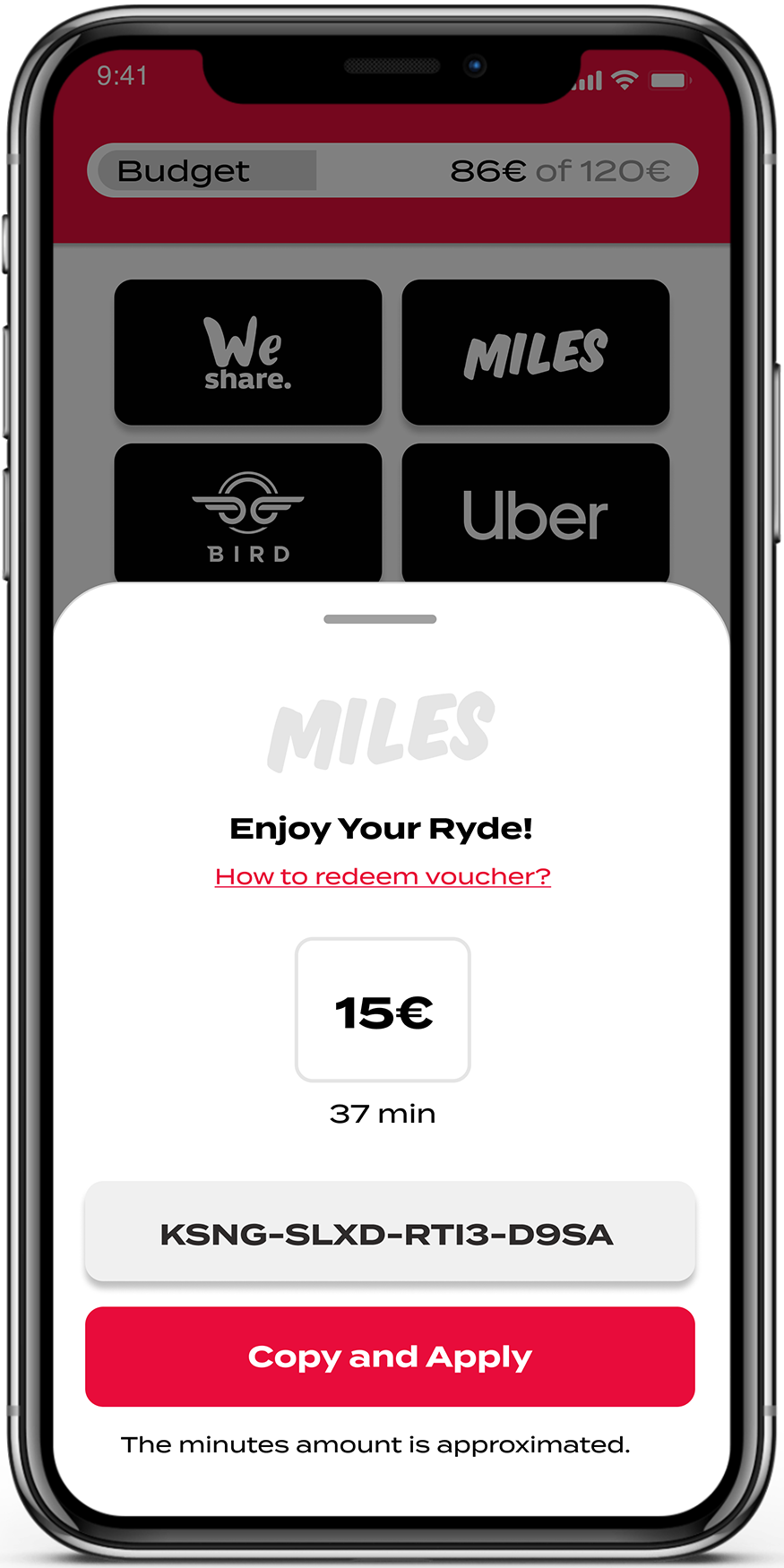 RYDES mobility budget voucher code screen in the mobile application