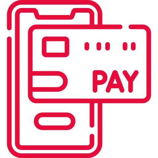 Red cashless payments icon