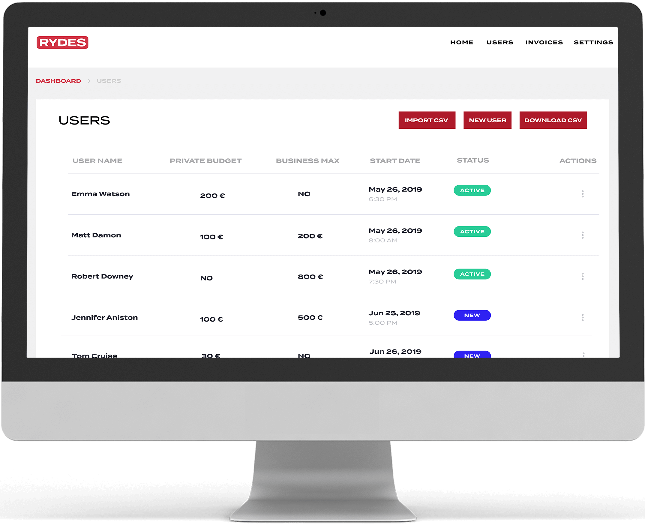 User upload screen of the RYDES Mobility Budget for HR teams