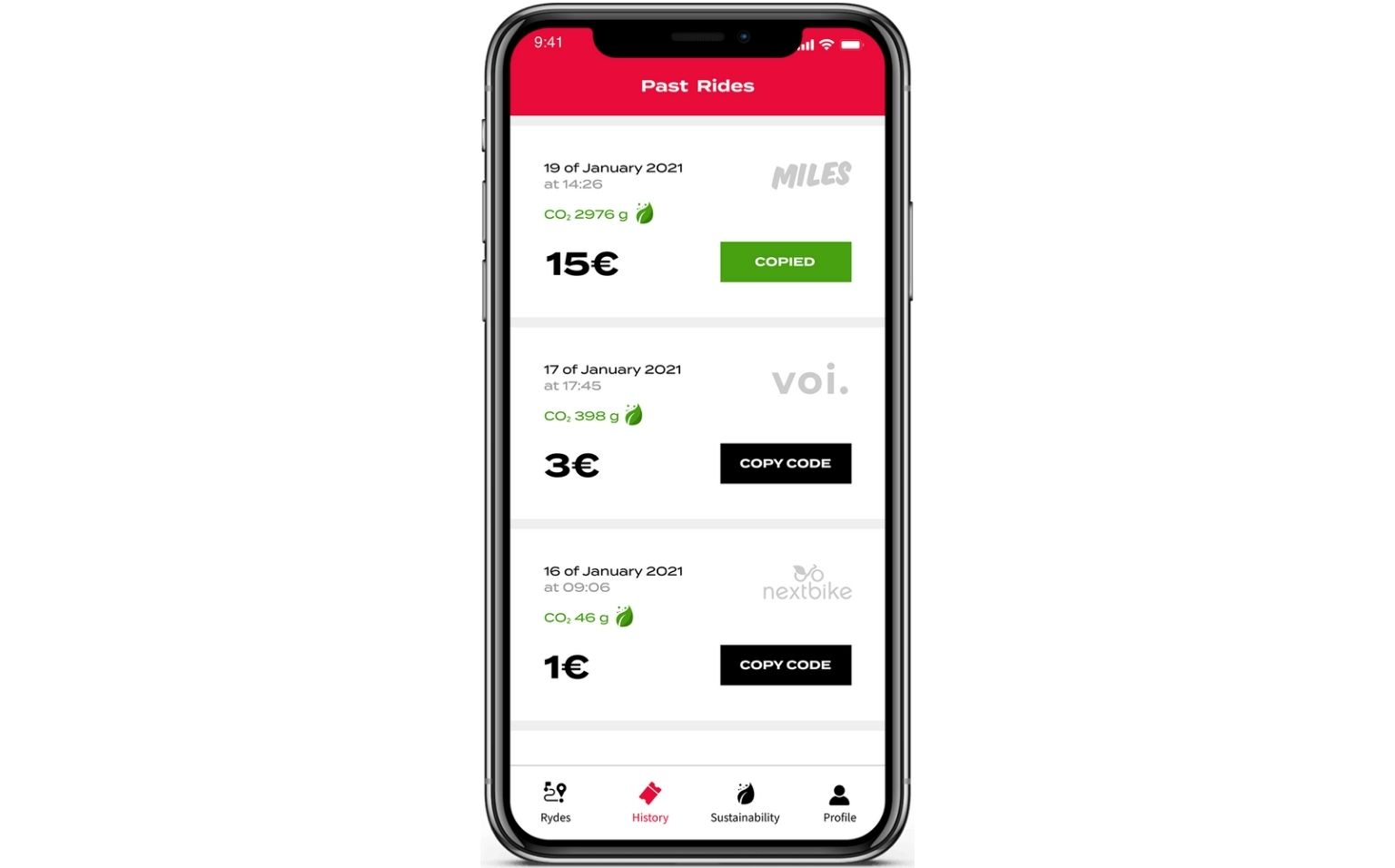 CO2 offset screen in the RYDES mobility budget mobile app