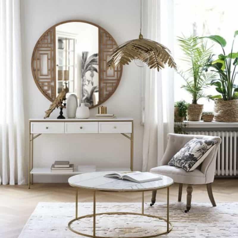 Table Basse en Marbre Blanc
