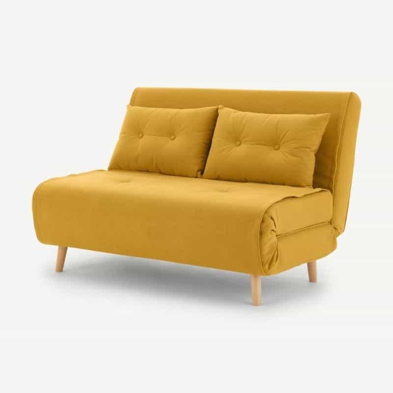 Petit canapé convertible jaune moutarde