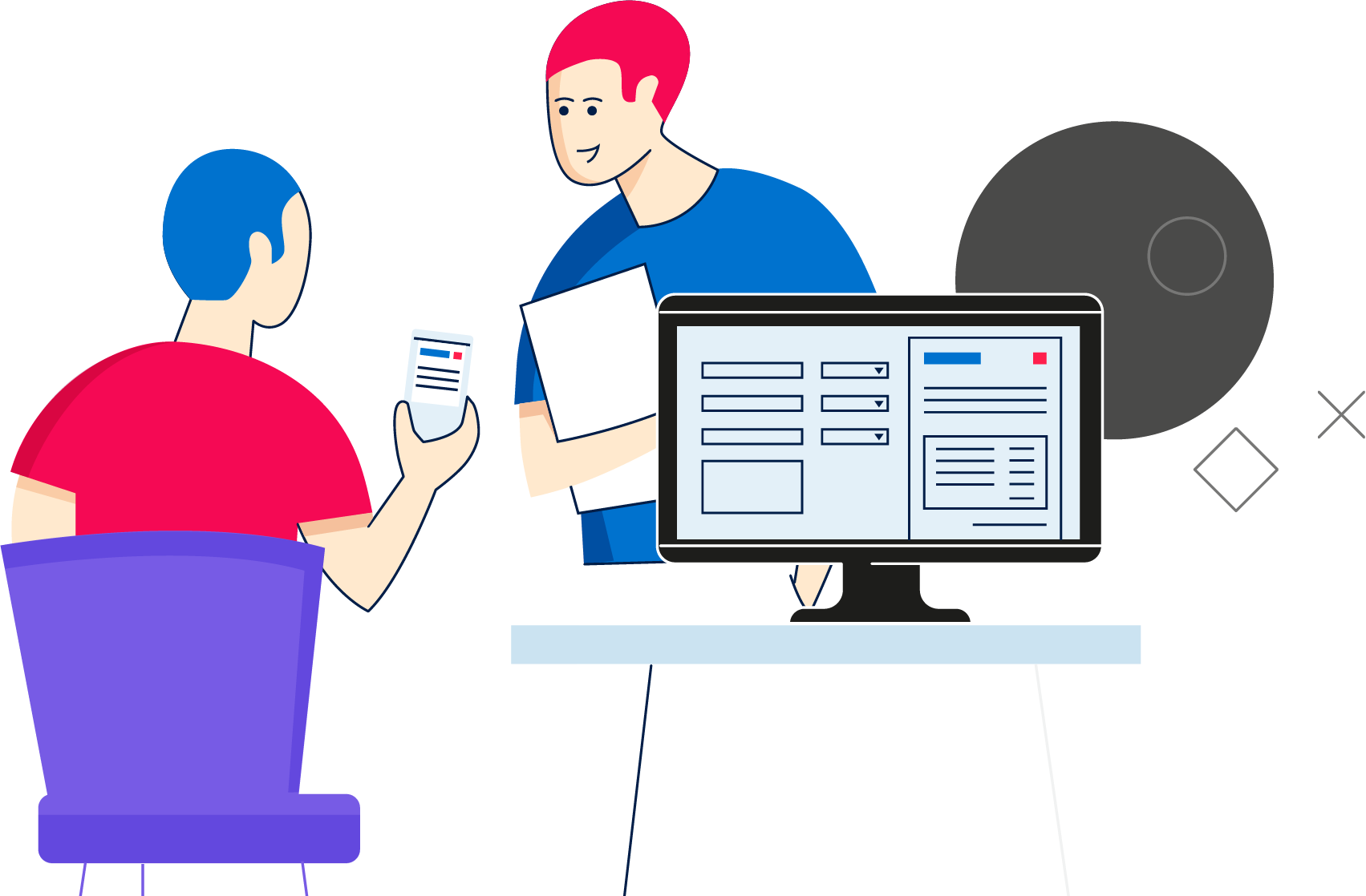 Illustration of people in an office, using AutoEntry on phone and desktop.