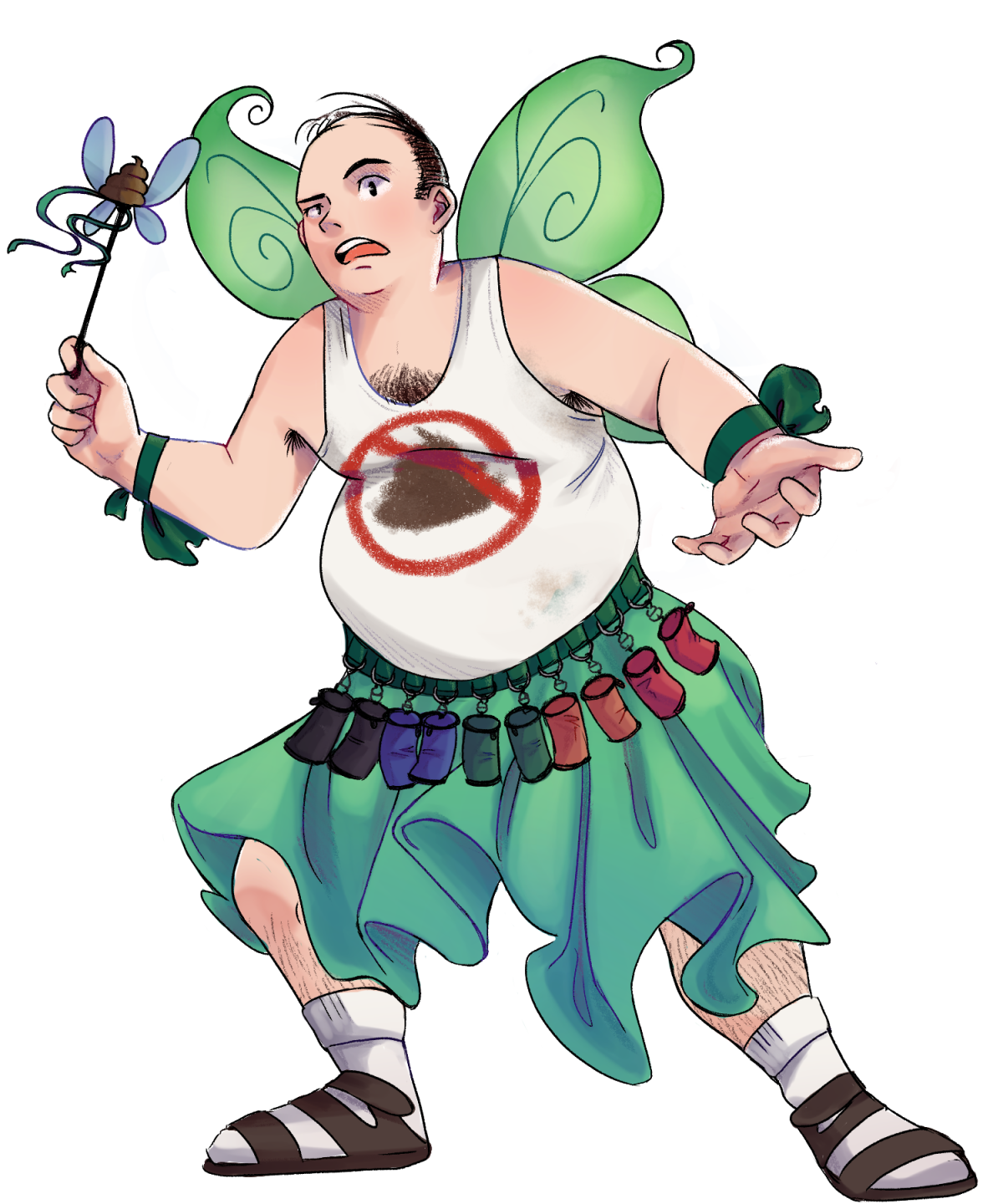 Poop Fairy dressed in his iconic outfit consisting of green fairy wings, a belt armed with poop bags, a white tank top with a poop symbol crossed out in red, a wand, socks and sandals, with a green skirt.
