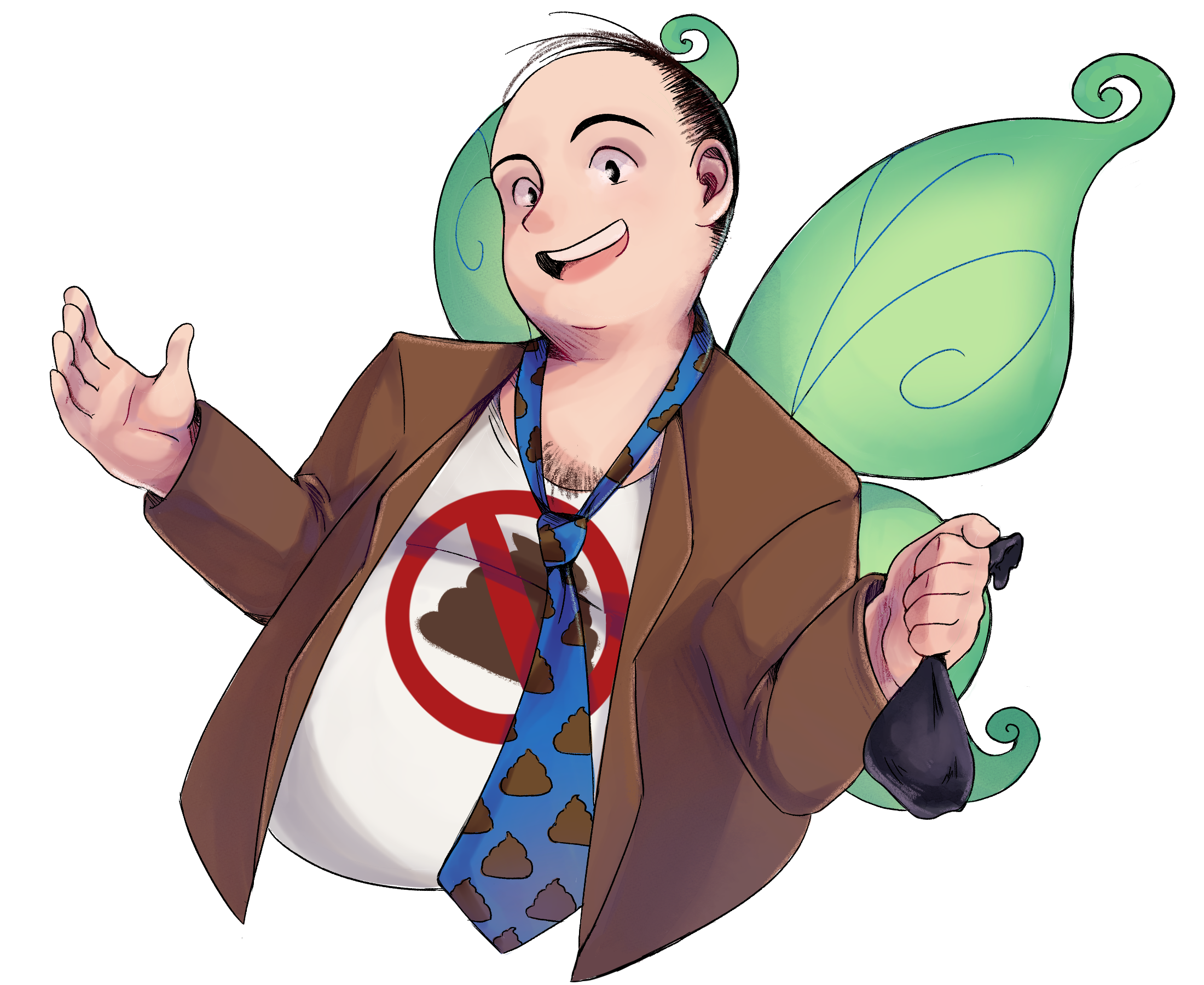 Professor Poop Fairy holding a poop bag with arms out and smiling. His wings are green, and he is wearing a brown coat over a white tank top with a crossed out poop symbol, all tied together with a blue poop emoji tie.
