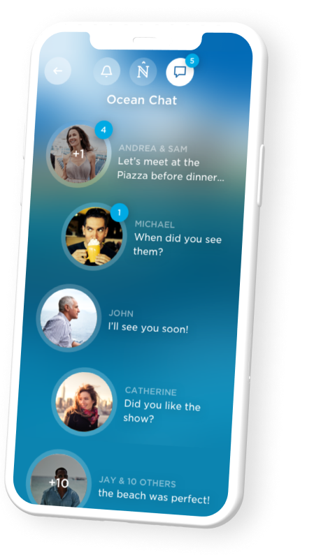 iPhone mockup showing a chat screen for Carnival's mobile application