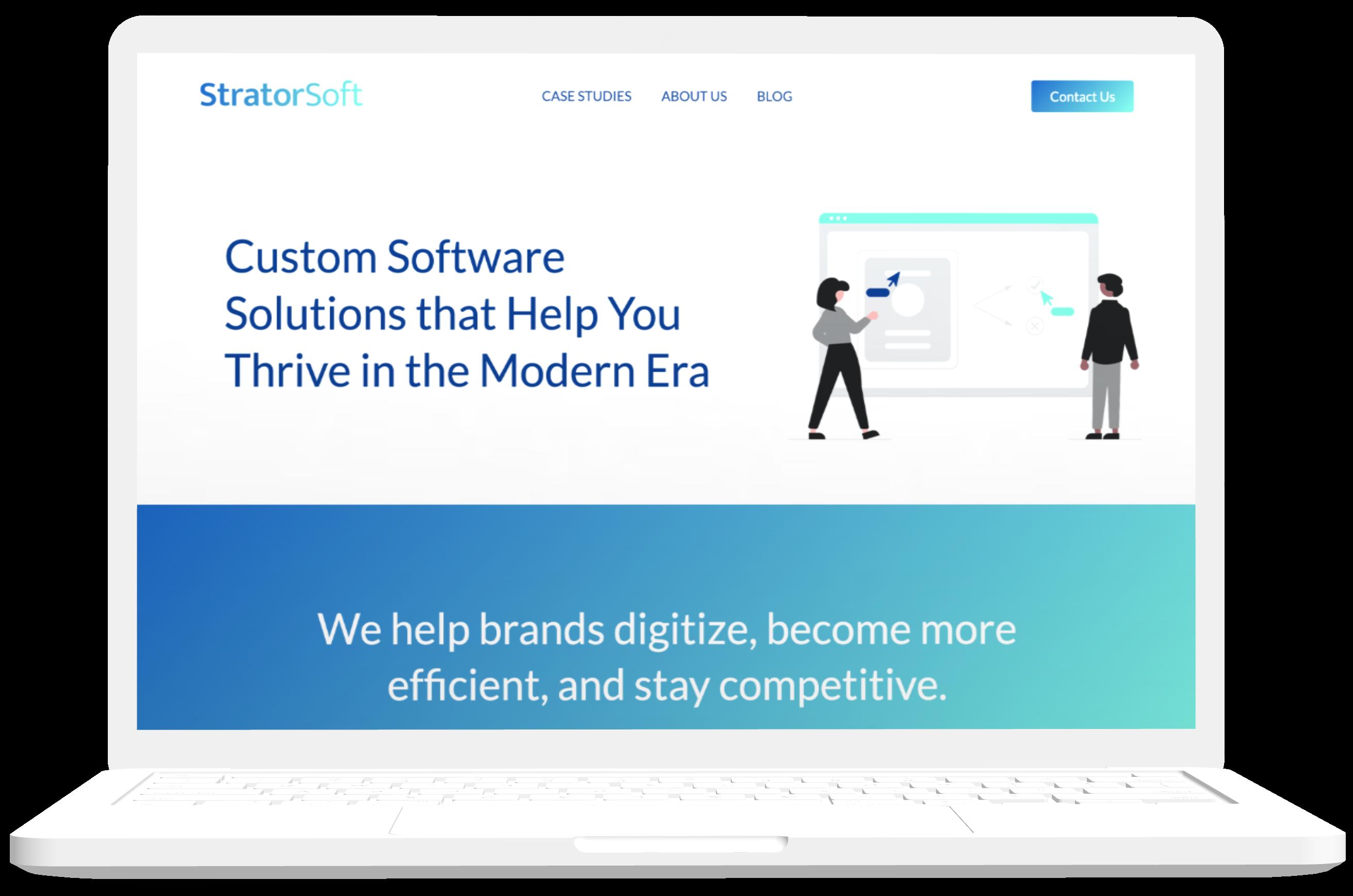 A macbook pro mockup showing StratorSoft's website design