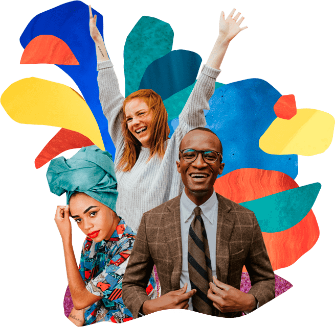 Colorful background with 3 happy and excited adults posing