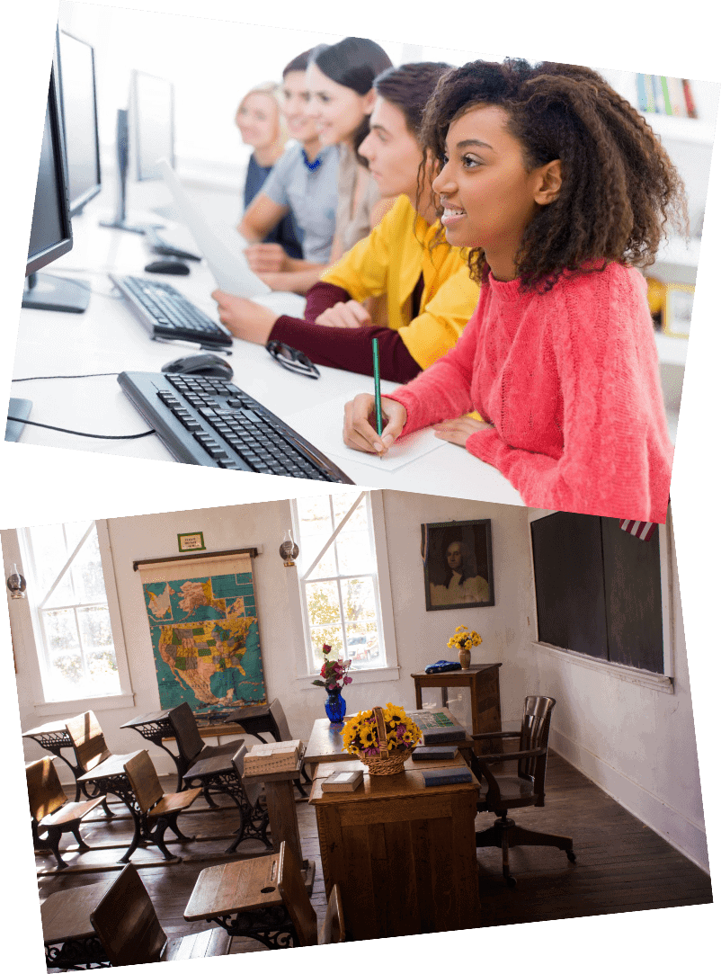 collage of two pictures. Top picture features students learning on computers and bottom picture features an old empty classroom