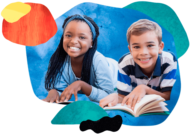 2 children enjoying reading inside of a colorful graphic