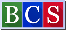 BCS green, blue and red logo