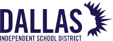 Dallas Independent School District logo shows the silhouette of a student shining purple.