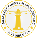 Muskogee County School District logo with a shining yellow lighthouse.