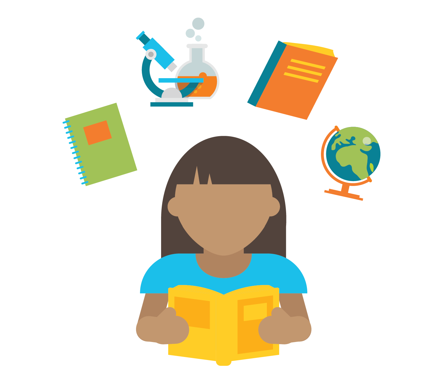 Icon of a student with different icons related to class subjects above them