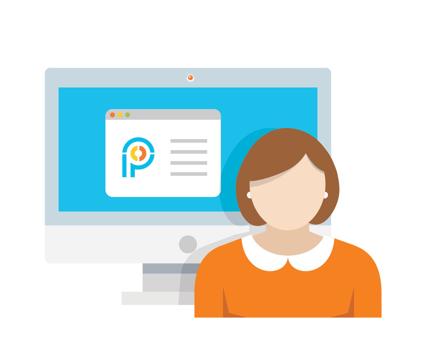 Icon of lady in front of a screen with Proximity Learning logo and a browser window open