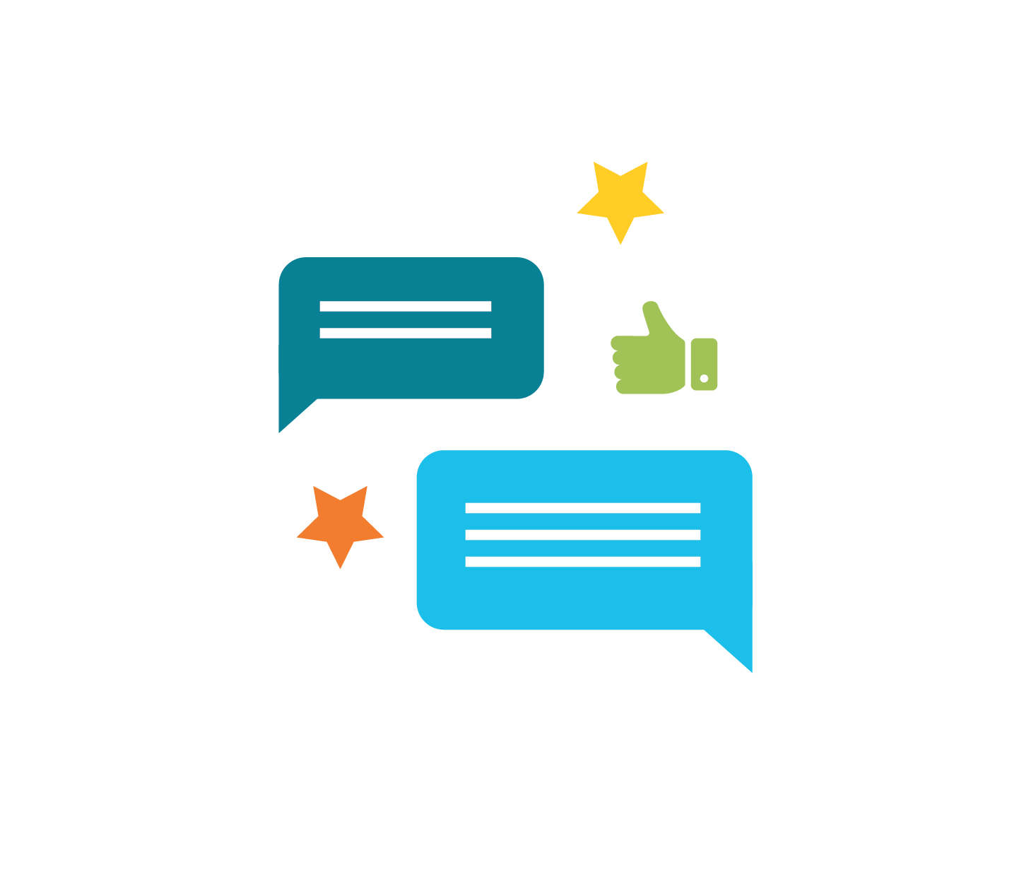 Icon of message bubbles with a thumbs up and some stars