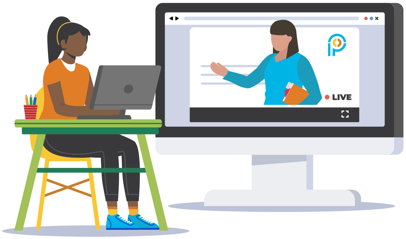 Animation of a student interacting with a live virtual teacher