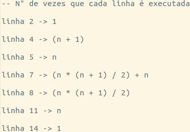 Complexidade de um Algoritmo - Resultado do número de linhas executado