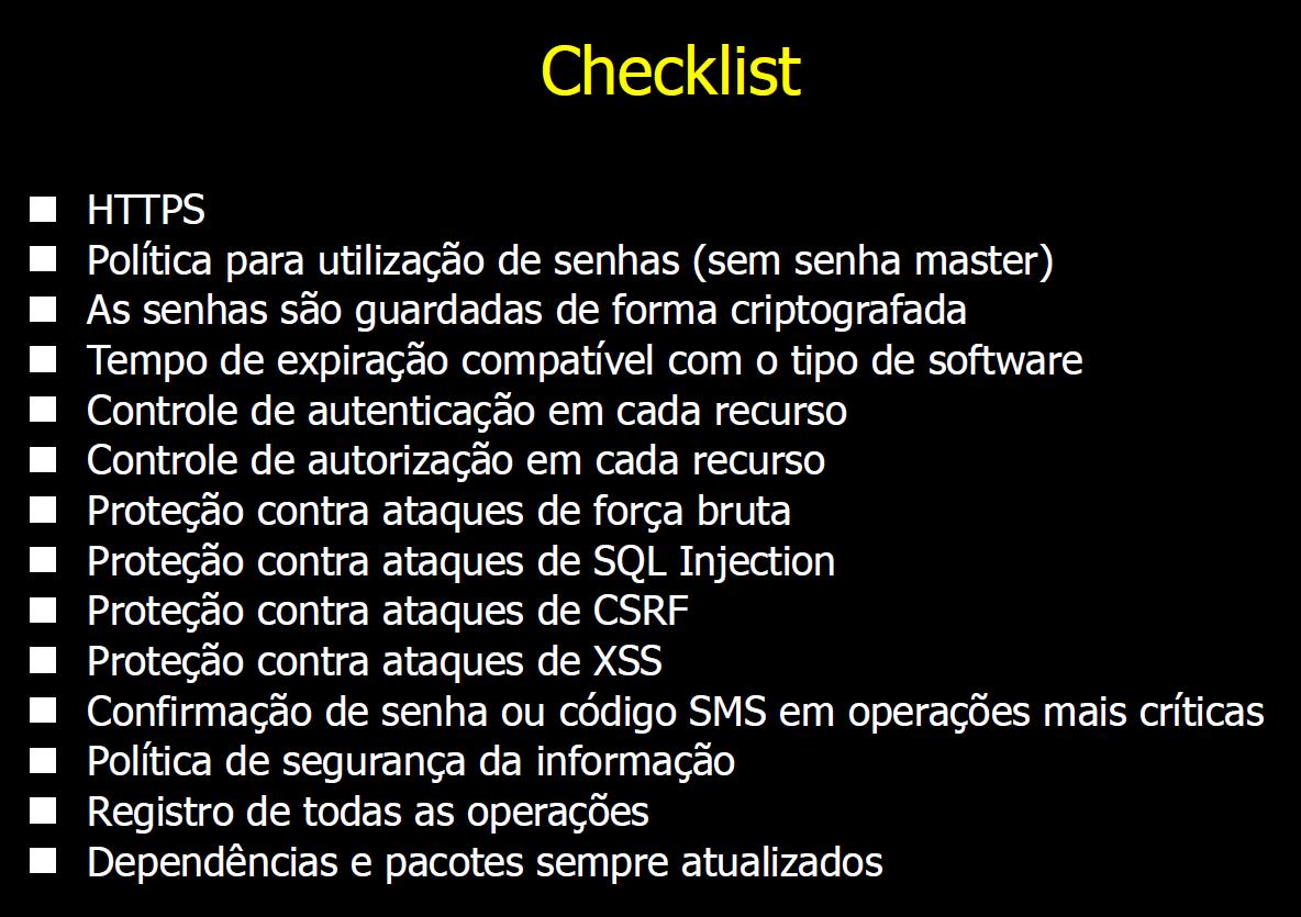 Checklist para Segurança na Web
