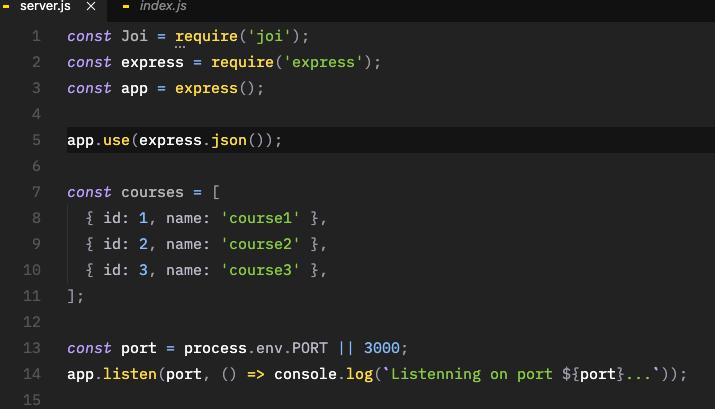 Criando um arquivo server.js ara API REST com Node