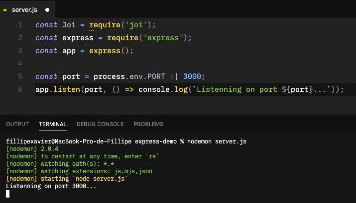 Subindo servidor para API REST com Node