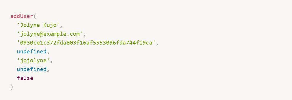 Funções legíveis em javascript - add user