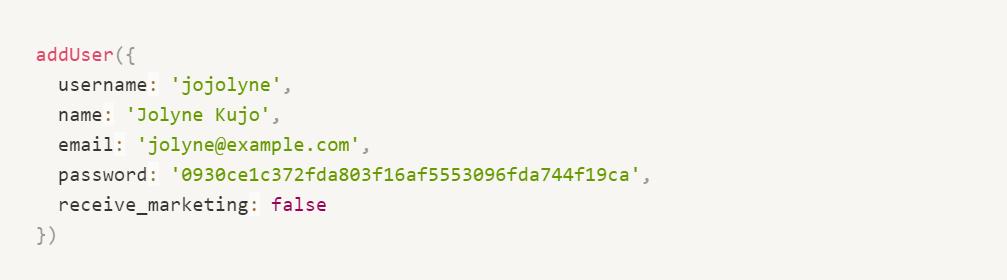 Funções legíveis em javascript - add user false