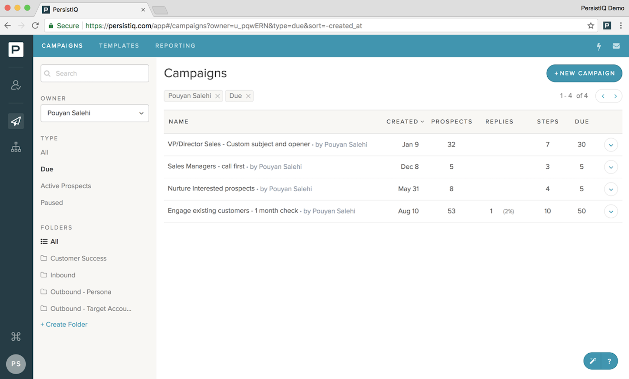 Personas integrates with PersistIQ to find the perfect audience for your cold email outreach