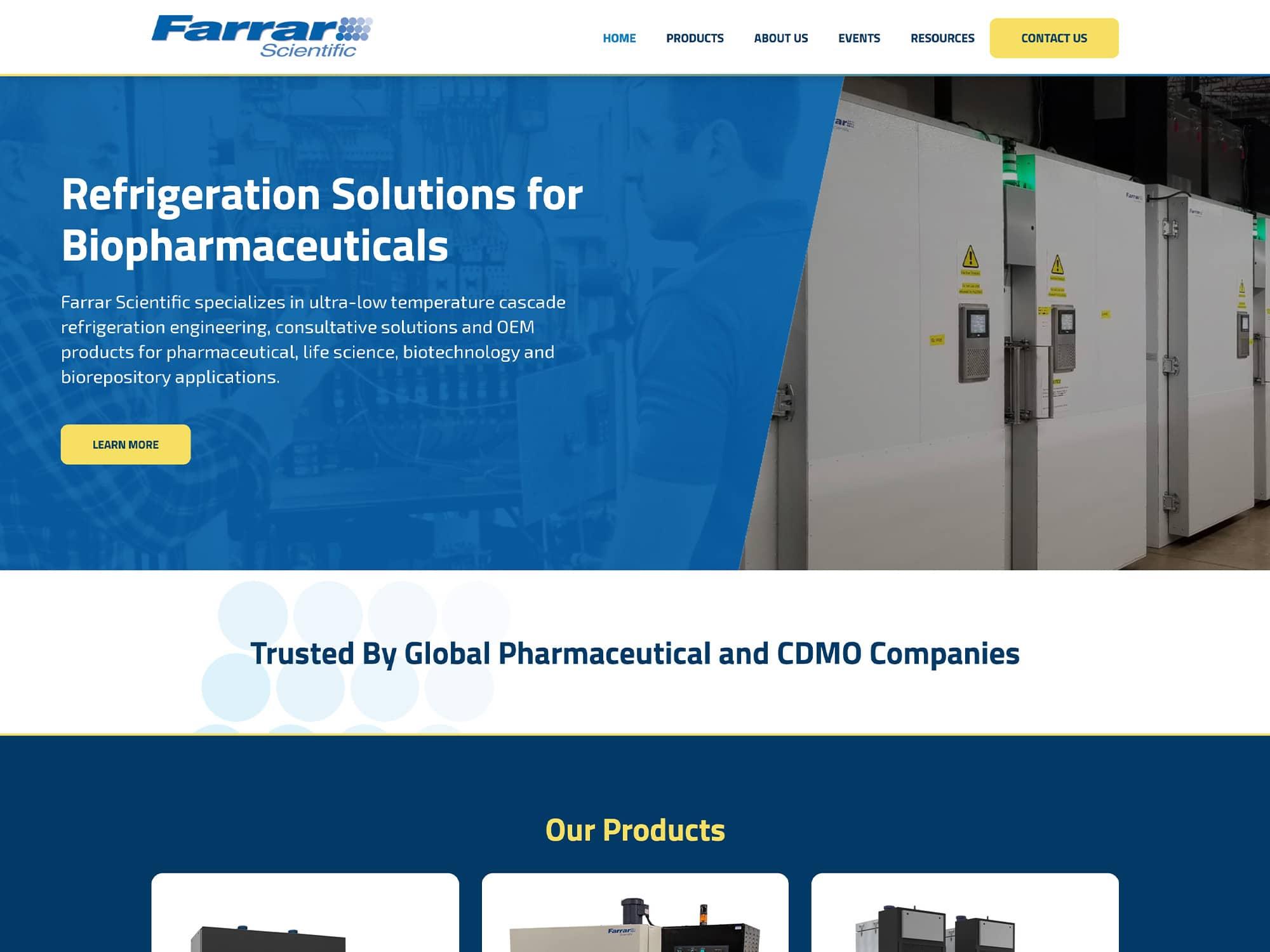 Farrar Scientific New Website Home Page