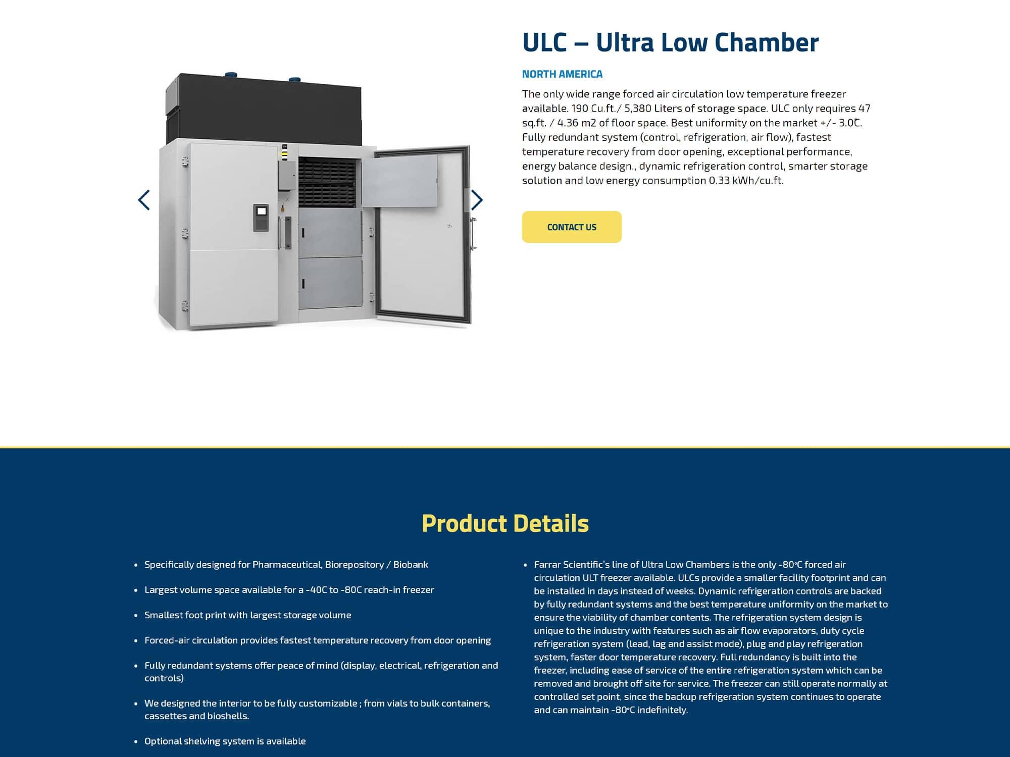Farrar Scientific New Website Product Page