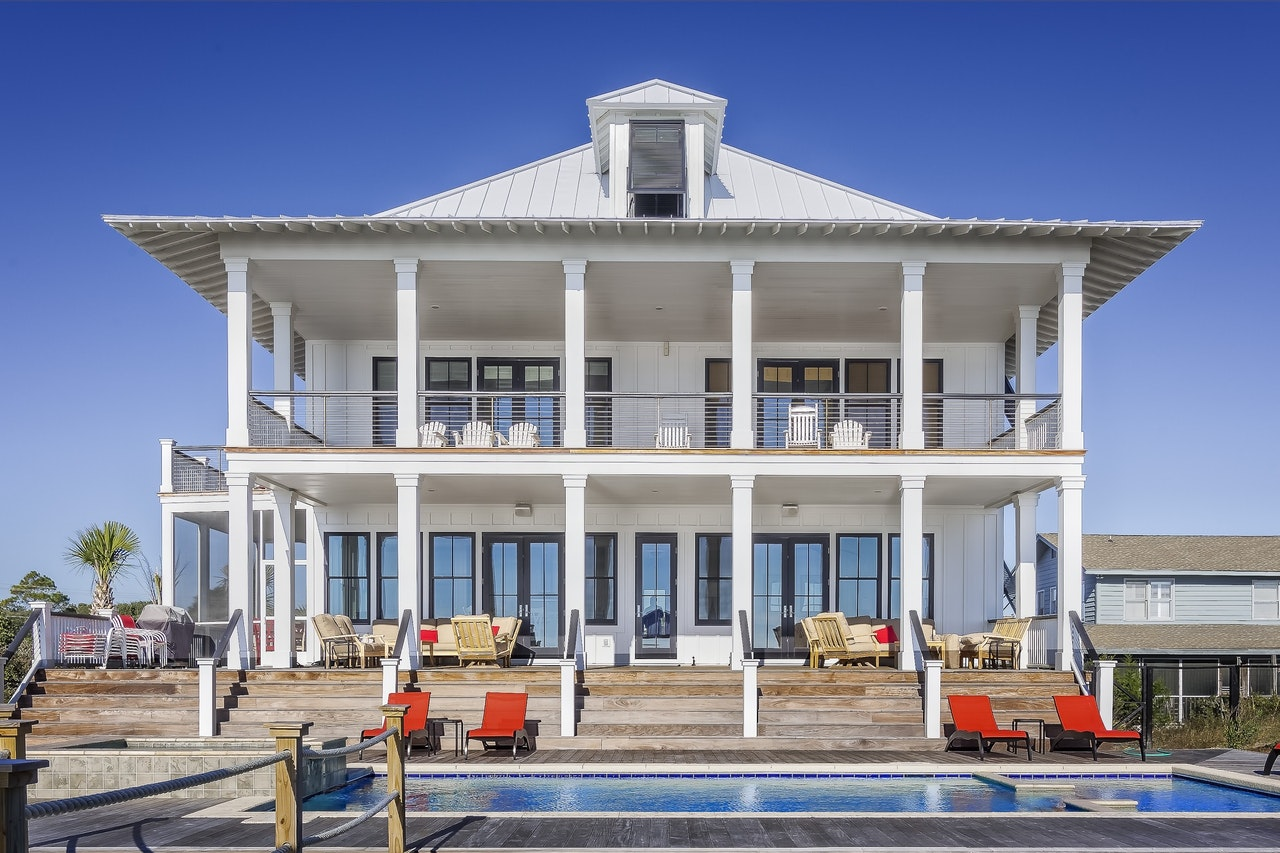 big white house with pool