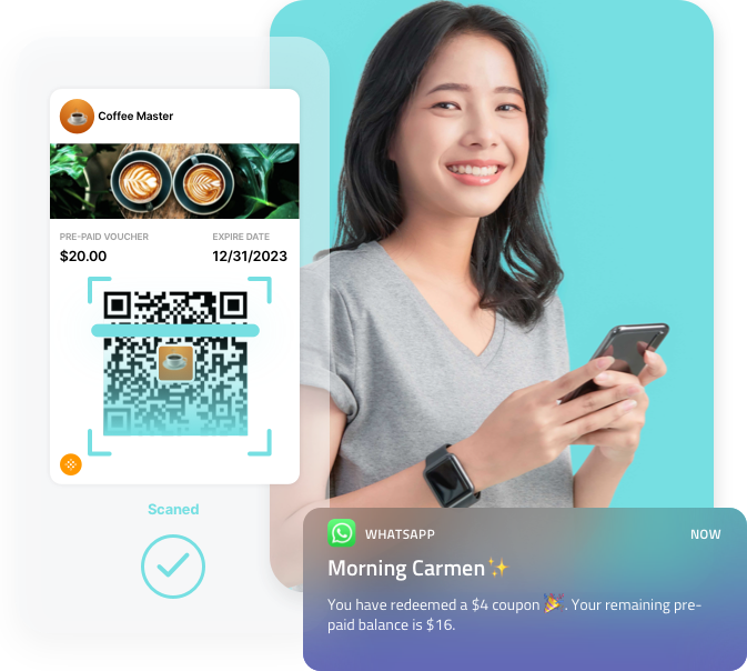 100% Contactless, 100% Safe. Create a completely contactless in-store experience. Engage customers via messaging apps and chatbots, and allow them to order and receive offers through WhatsApp and QR Code.