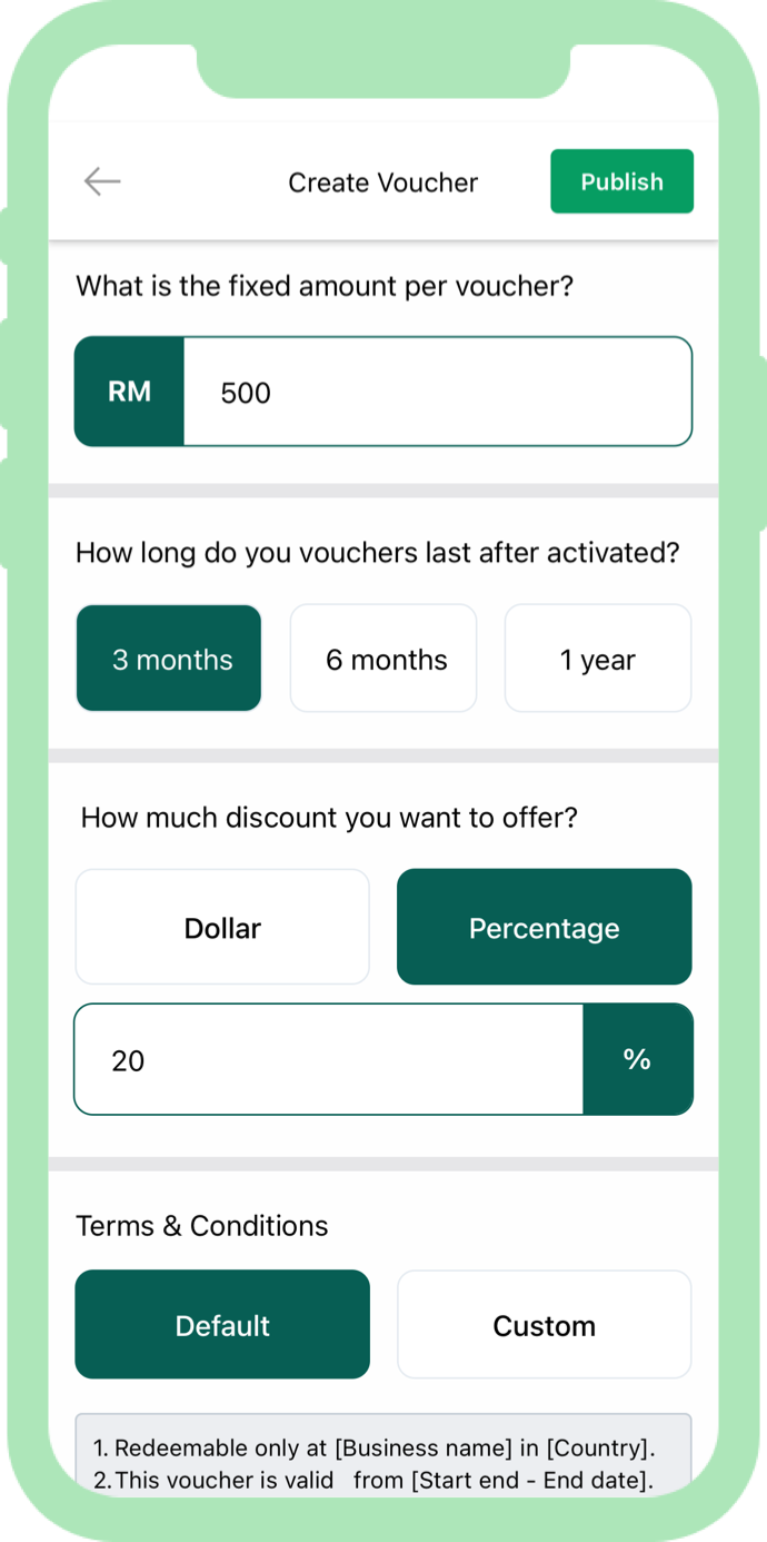 2. Personalize digital vouchers Tailor voucher discounts and redemption terms via the Spring mobile app.