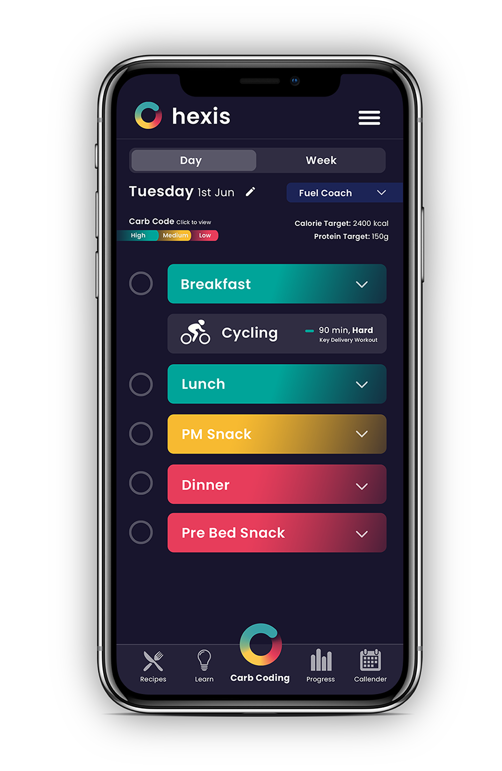 Hexis nutrition app with Carb Coding for athletic performance