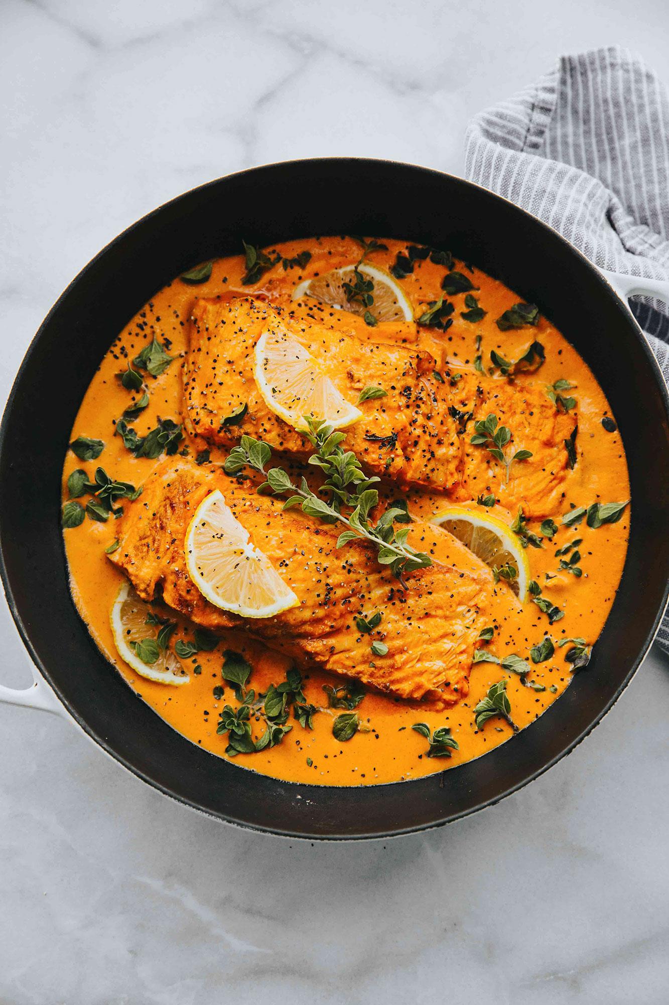 Healthy homemade dinner of baked salmon