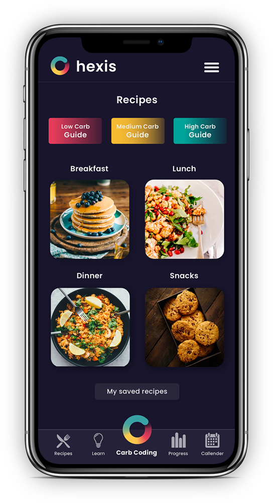 Hexis learn content library with scroll to recipes and progress tracking