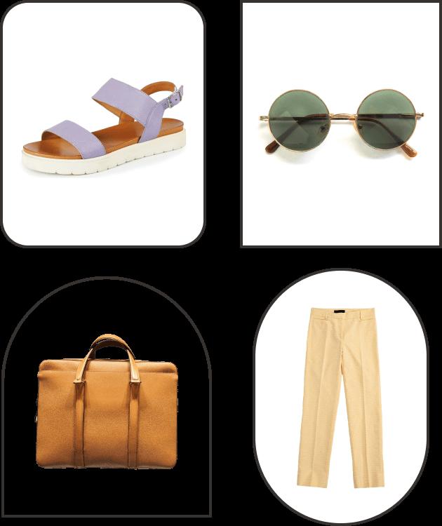 Image of a shoe, bag, sunglasses and pants