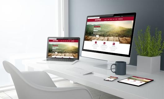 Bbegeisternde Webseiten auf Computer im Büro