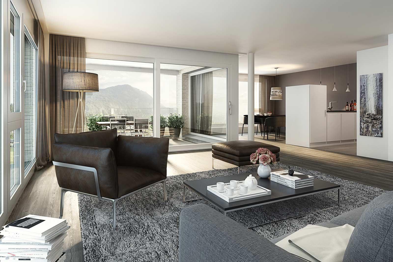 Modernes Wohnzimmer mit Terrasse