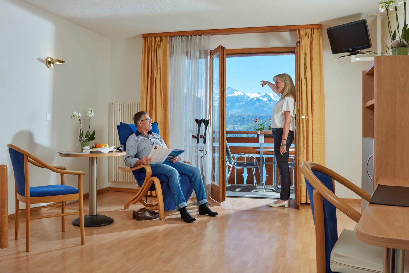 Patients admire the view from their room