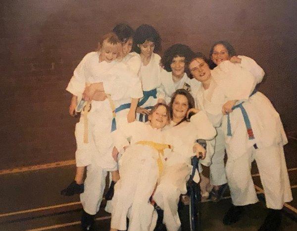 Vintage group of judo girls team.