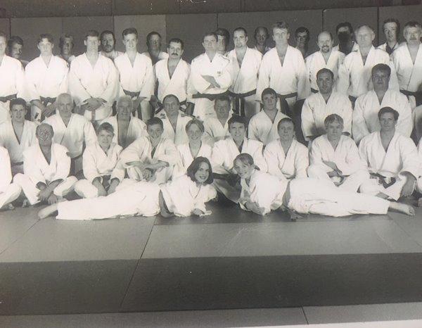 Vintage black and white group photo of Northampton Judo Club players.