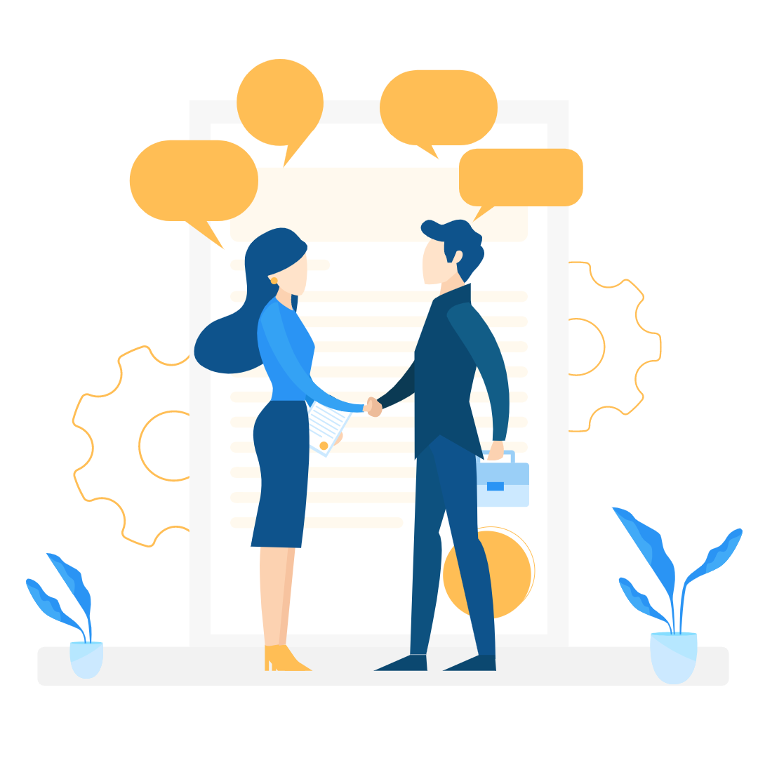 Illustration of two people handshaking