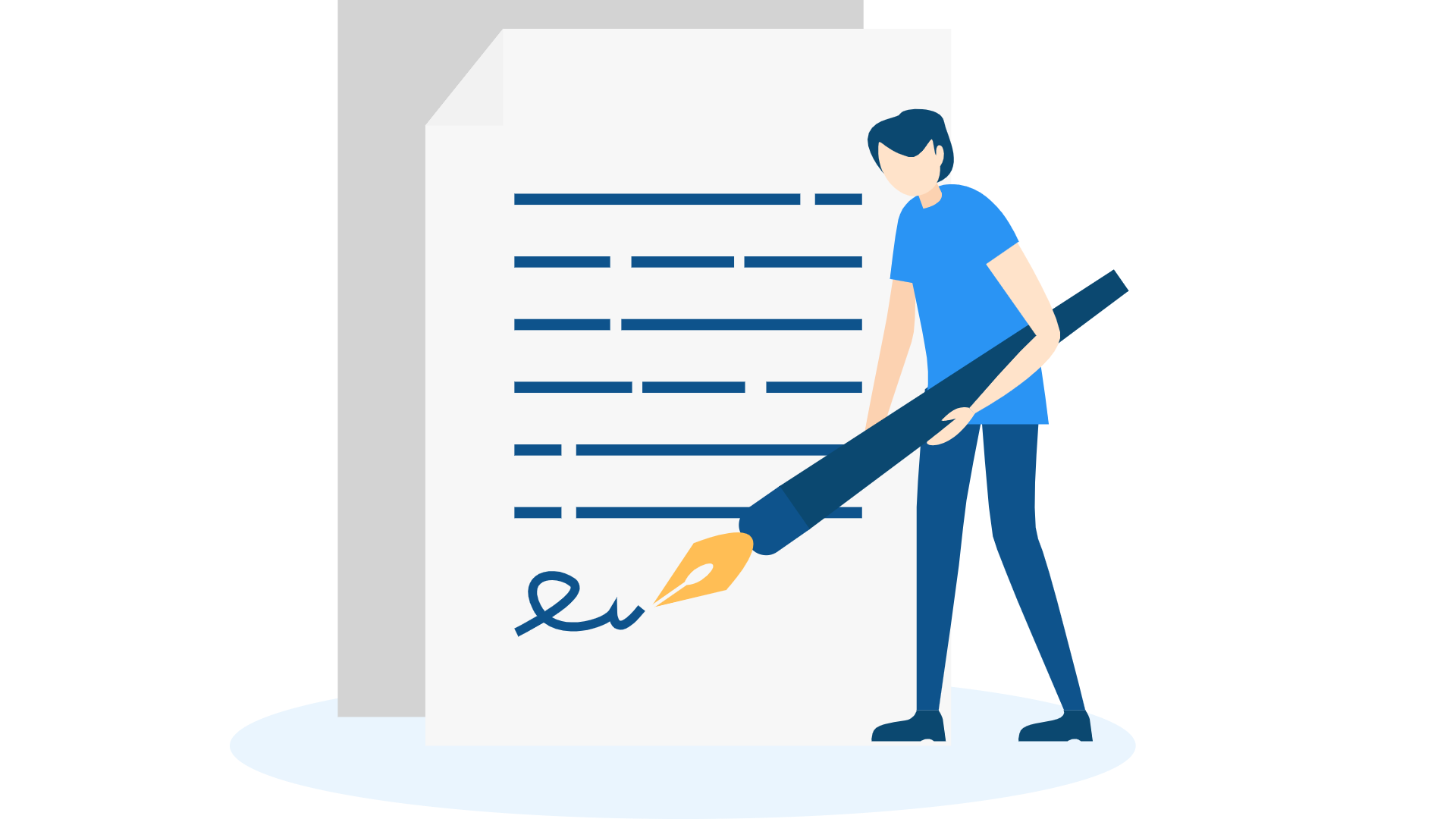 Illustration of man signing contract