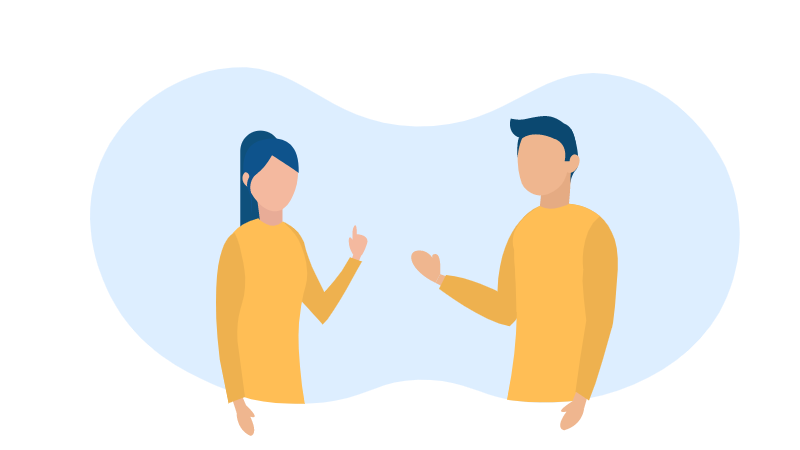 Illustration of two people debating