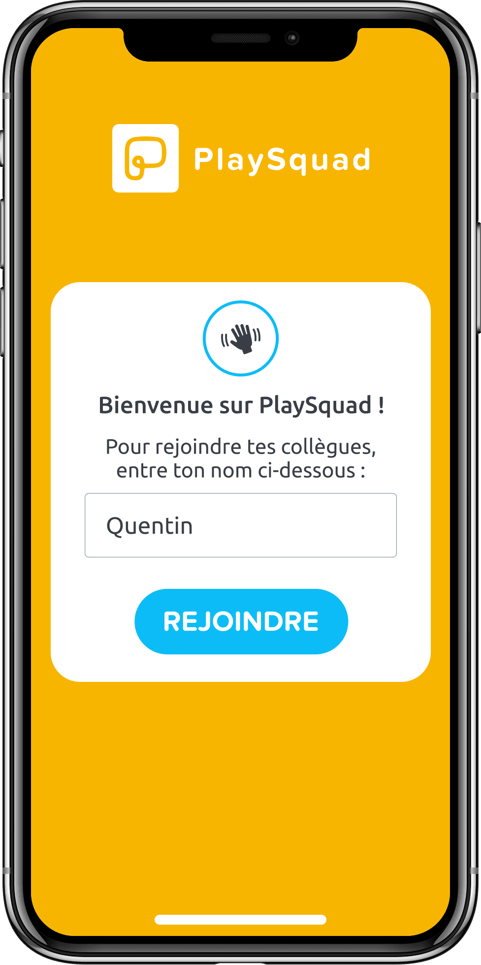 Capture d'écran de l'application PlaySquad au moment de rejoindre le jeu